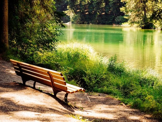 アルプスの美しい山の湖の近くのベンチ