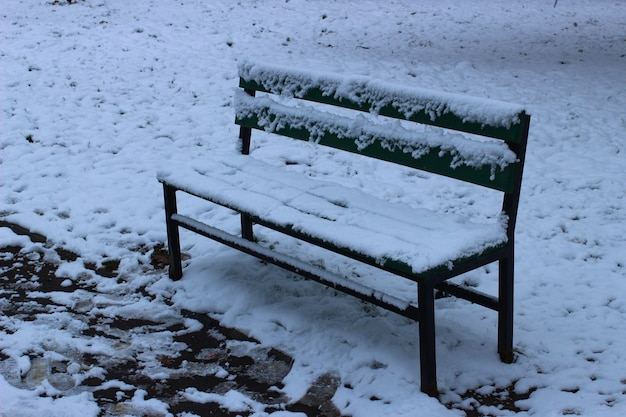 Bench in the park in winter close-up