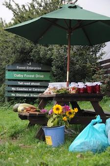 果物と野菜のベンチ