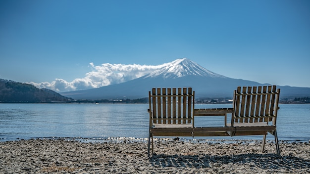 Bench with gorgeous view of mount fuji