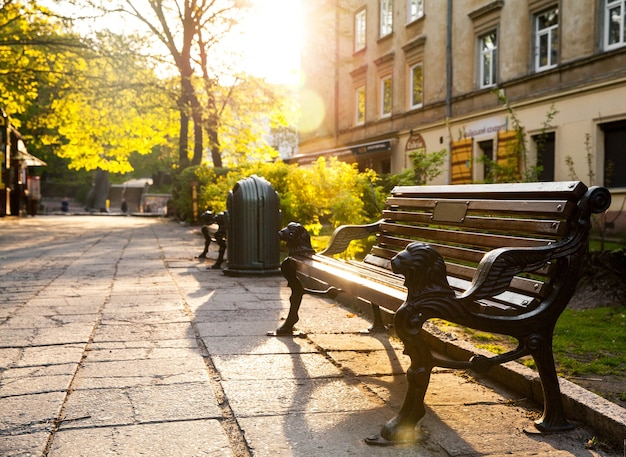 スカイラインのあるベンチ。
