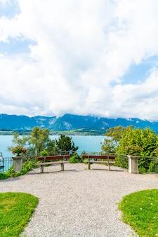 Bench with thun lake in switzerland