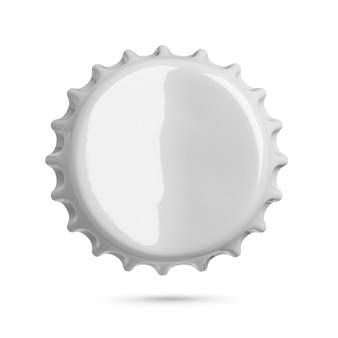 白い背景で隔離の曲がった灰色の金属ソーダまたはビールの王冠。上面図。 3dレンダリング