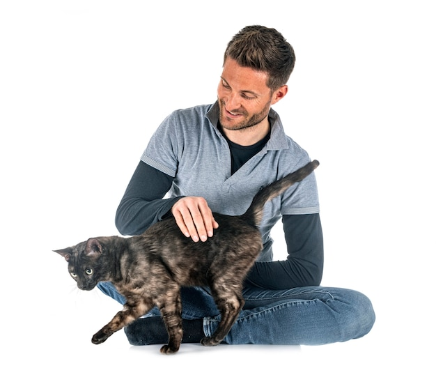 Bengal cat and man