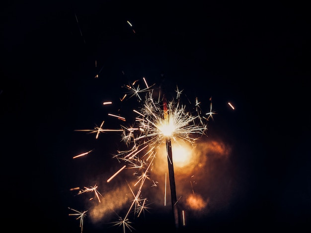 Bengal fire. sparkler. new year party sparkler on black