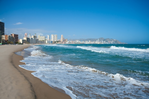 Benidorm alicante beach buildings and mediterranean