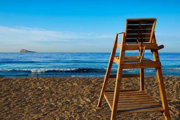 Benidorm poniente beach watchtower seat alicante