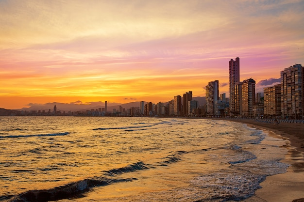 Benidorm skyline at sunset beach in alicante
