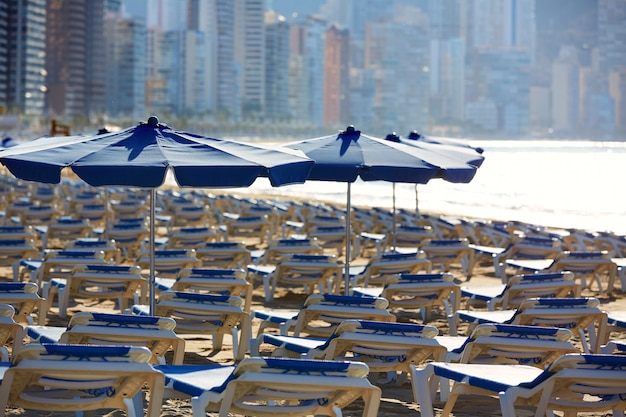 Benidorm sunrise with hammocks and parasol