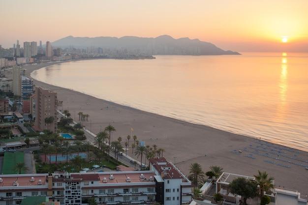 Benidorm sunset alicante playa de levante beach in spain