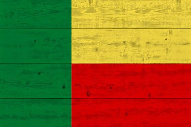Benin flag painted on old wood plank
