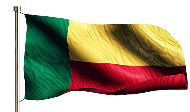 Bandiera nazionale benin isolato 3d sfondo bianco