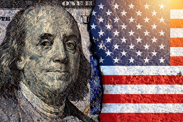 Benjamin franklin former us president on us dollar banknote and usa flag
