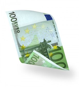 Bent euro banknote over white background