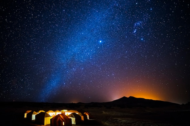 Berber tents in the desert on a starry night