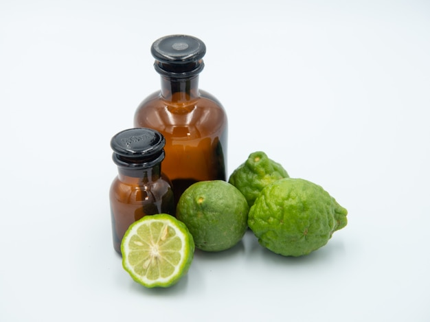 Bergamot, citrus hystrix, bergamot oil, hair treatment oil on white