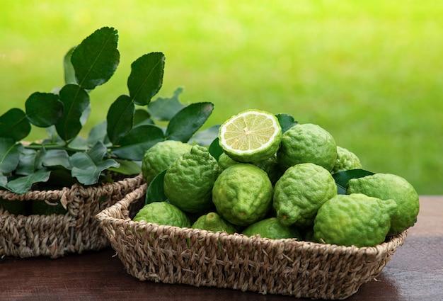 Bergamot fruit asean food and is herb in basket