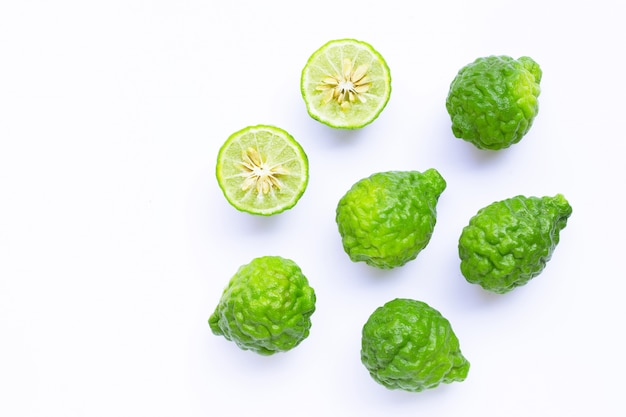 Bergamot kaffir lime herb fresh ingredient  isolated on white