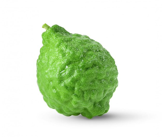 Bergamot or kaffir with drop of water isolated on white