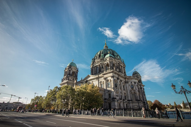Berlin cathedral (berliner dom) next to spree river, berlin, germany.