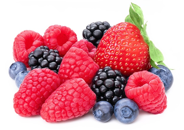 Berries collection isolated on white wall. fresh mix berry set isolate composition, raspberry