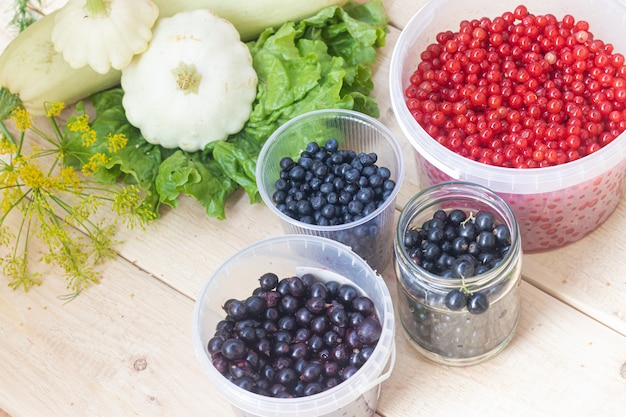 Berries from his garden. garden berries. berries from the bushes. red currant black currant gooseberry.