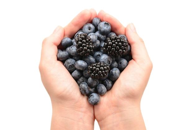 딸기는 흰색 배경에 격리된 손에 보관됩니다.
