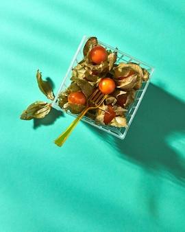 プラスチックフォーク付きバスケットの皮、影の反射と熟したサイサリスのベリー