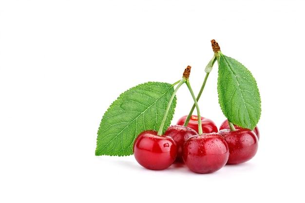 白の熟したチェリーの果実。