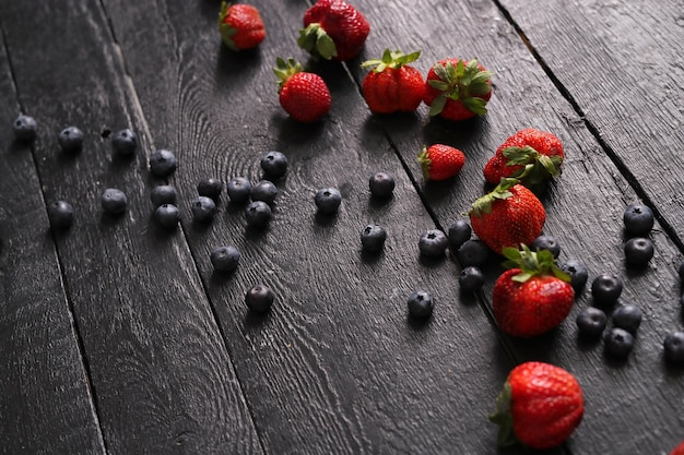 Berries on the wooden table