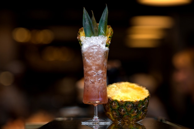 Berry ice cocktail with pineapple