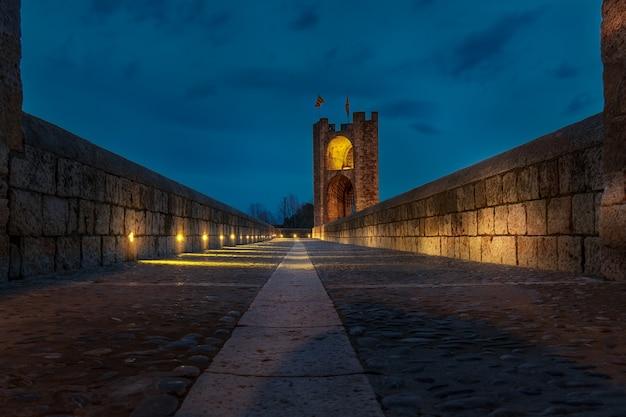 Besalu bridge enlightened at night