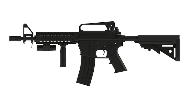 Beside view of black assult rifle ar15 model mk18 mod1 isolated on white background