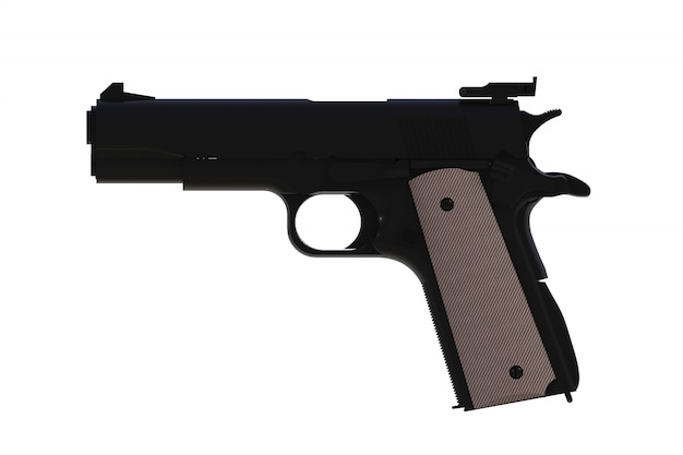 Beside view of black m1911 semi-automatic .45 caliber pistol isolated, 3d rendering