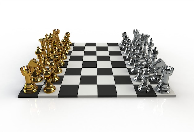 Beside view of chess figures on the playing board on white background, 3d rendering