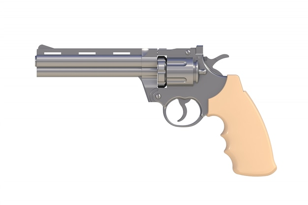 Beside view of chromium revolver 357 magnum isolated on white background