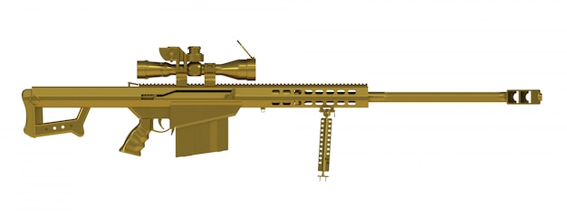Beside view of gold sniper rifle isolated