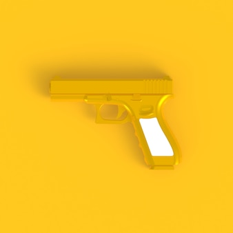 Beside view of pink semi automatic 9x19 handgun abstract minimal yellow background