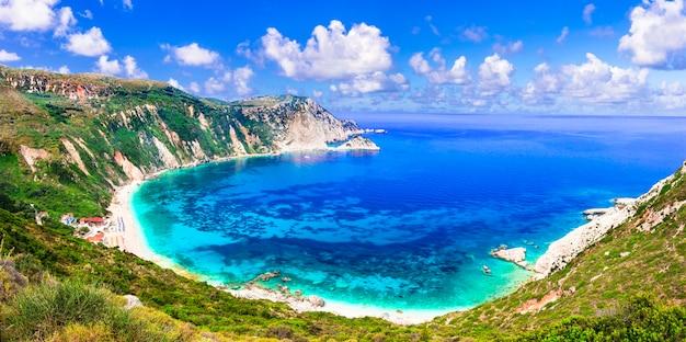 Kefalonia 섬의 최고의 해변 petani, 그리스 이오니아 섬