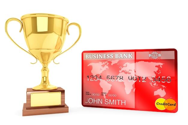 Лучшая кредитная концепция. золотой кубок чемпиона с кредитной картой на белом фоне