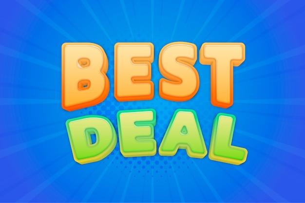 Testo di acquisto 3d migliore affare in illustrazione di tipografia comica colorata