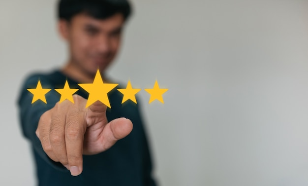 Best excellent services rating for satisfaction.customer experience satisfaction concept.