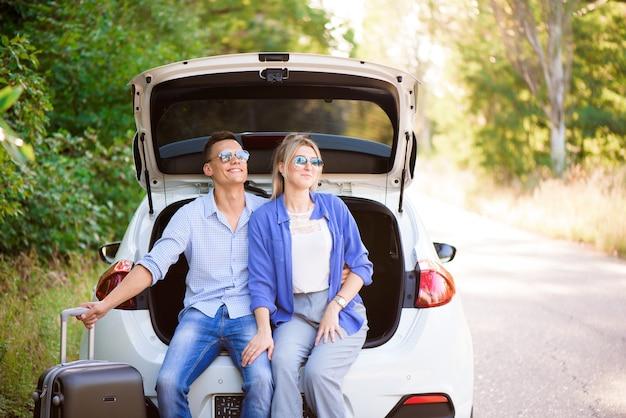 Best friends enjoying traveling in the car, having lots of fun on a road trip.