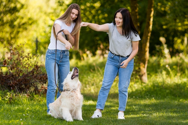 Best friends taking a walk with their dog