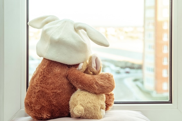 Best friends teddy bear and bunny toy sitting on window sill hugging each other and looking out of window.