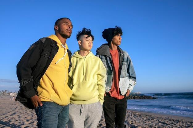 親友の十代の少年たち、遠くを見渡す