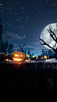 Best halloween background scary and spooky pumpkin on fire around mystic night and cemetery