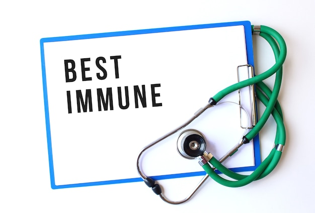 Best immune text on medical folder with documents and stethoscope