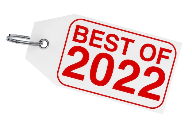 白い背景の上の2022年の新年のタグのベスト。 3dレンダリング