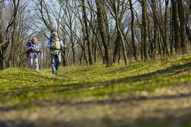 世界で最高の場所。晴れた日に木の近くの緑の芝生を歩いて観光服の男女の老家族カップル